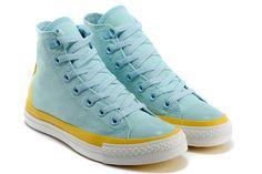 Fashion High Converse Light Blue Yellow Casual Shoes [JDDSLDM073 ...