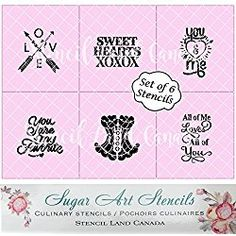 Valentine's Day cookie stencils set of 6 romantic designs Valentines Day Cookies, Cupcake Liners, No Bake Cookies, Cookie Cutters, Stencils, Romantic, Baking, Bread Making, Romantic Things