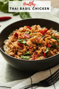 This Thai Basil Chicken recipe is incredibly flavorful and very healthy! You can substitute any kind of protein for the chicken as well as any plant-based option. This recipe makes a great hearty meal! #weeknightmeals #dinnerideas #thaibasilchicken Healthy Chicken Recipes, Healthy Snacks, Thai Basil Chicken, Low Sodium Chicken Broth, Healthy Comfort Food, Food Words, Weeknight Meals, Food Dishes, Food Print