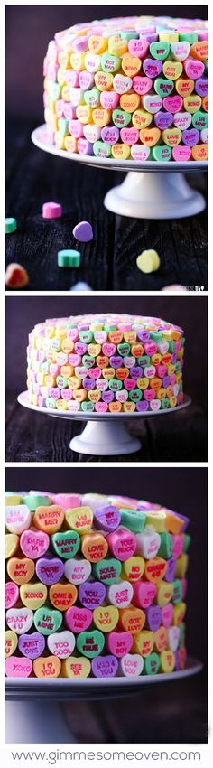 Strawberries and Cream Cake - those little valentine's day candies look so cute on this cake but I would probably not eat them