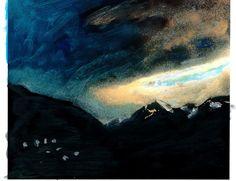 Midzomernacht. Ad van den Boom. Gemengde technieken Saas Fee, Mountain Paintings, Zermatt, Switzerland, Waves, Outdoor, Outdoors, Mountain Drawing, Outdoor Living
