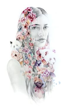 Girl with flowers double exposure and pandas. by naranjalidad, €15.00