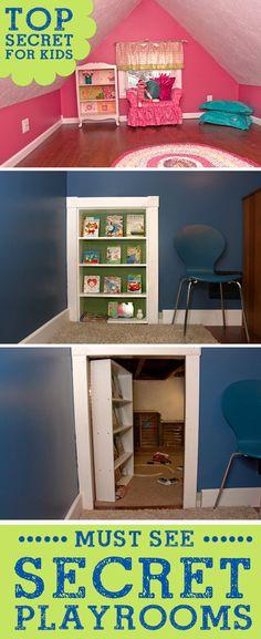 Super Fun Secret Hidden Kids Playrooms! Great home decor ideas for children. Dream play room ideas! LivingLocurto.com