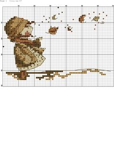 autumn leaves Cross Stitch For Kids, Cross Stitch Love, Cross Stitch Flowers, Cross Stitch Designs, Cross Stitch Patterns, Cross Stitching, Cross Stitch Embroidery, Embroidery Patterns, Stitch Doll