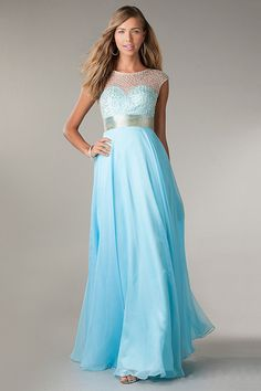 Fresh Prom Dresses Scoop Neckline Beaded Bodice Open Back Floor Length