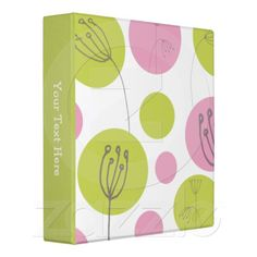 #Pink & #Green #Flower #Doodles 3 Ring #Binder from #Ricaso