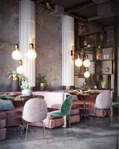 The new project of the restaurant №2 on Behance. Nika Zupanc's Stay chairs in yummy pastels, velvety pink banquettes, white columns that pop against the warm grey and gold walls. Grey floors. Those gorgeous pendant lights. And hits of gold. Delicious!!