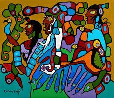 Shaman and Disciples by Norval Morrisseau (1979). #canadianart #firstnationsart #woodlandart