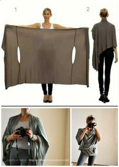 GREAT for travel. DIY Two Tutorials for the Bina Brianca Wrap. It can be worn as a scarf, cardigan, poncho, blouse, shrug, stole, turtleneck, shoulder scarf, back wrap, tunic and headscarf. You can download the PDF how-to manual for all these styles from Bina Brianca here. Top Photo: Bina Brianca Wrap here, Bottom Photos: DIY Bina Brianca Wrap Tutorial by Organized Living Solutions here. Not pictured original tutorial for the wrap at The Craft Guild here.