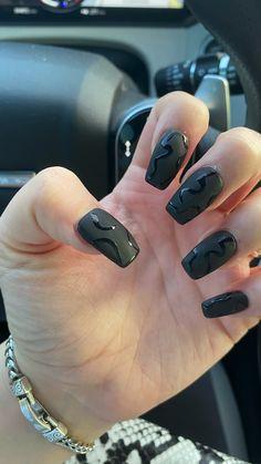 Black Acrylic Nails, Simple Acrylic Nails, Best Acrylic Nails, Black Nails, Black Sparkle Nails, Winter Nails, Summer Nails, Arylic Nails, Black Almond Nails