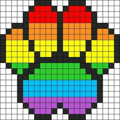 Rainbow paw perler beads pattern