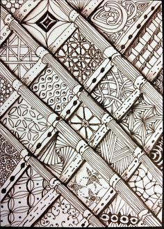 "Tangled squares by LenaWink, via Flickr Beautiful how she has done the ""columns"""