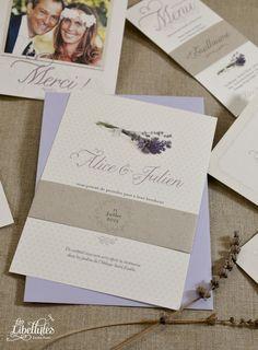 Faire-part de mariage Provence, dans un style rustique chic et authentique, avec bande de maintien en kraft. A découvrir sur Les-Libellules.fr