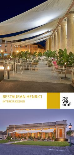 In the former stables of Schloss Esterházy, located in the charming city of Eisenstadt, we've completely redesigned the outdoor area of the popular Restaurant Henrici. The guest garden consists of a three-part seating and lounge concept, extending from the portico under the historic arches into the open-air garden. The materials (brass or terrazzo in grey) underline the restrained, distinguished overall impression. PROJECT_Restaurant Henrici DEPARTMENT_Interior Design LOCATION_Eisenstadt… Restaurants Outdoor Seating, Outdoor Restaurant Design, Open Air Restaurant, Restaurant Seating, Area Restaurants, Outdoor Seating Areas, Outdoor Spaces, Outdoor Cafe, Outdoor Lounge