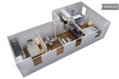 Plan avant aménagement 3 D de l'appartement ou tout est intégralement neuf ABSOLUTELY GORGEOUS BUT EXPENSIVE