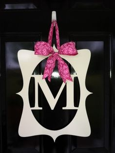 "Metal Monogram Door Hanger by RafflerDesigns on Etsy, $55.00. Measures approx 20""H x 15""W."