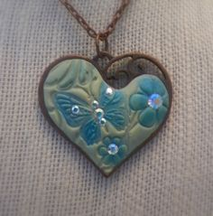 Heart  Antique Copper with Butterfly Design by UntamedArts on Etsy, $25.00