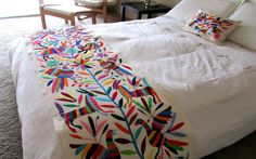 Otomi embroidered fabric, King size bedspread Mexican Textile handmade, colorful hand embroidered. Only this love week pay 190 original 215 by ArteDeMiTierraMX on Etsy https://www.etsy.com/listing/220700237/otomi-embroidered-fabric-king-size