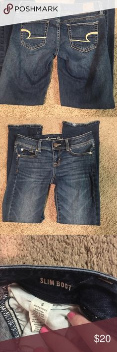 AE SLIM BOOT JEANS - SHORT Size 4 SHORT. Slim boot style. Worn twice. EUC! All bundles 30% off American Eagle Outfitters Jeans Boot Cut