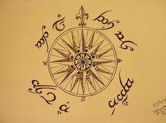 """Not all those who wander are lost."" Tengwar (Elvish) script."