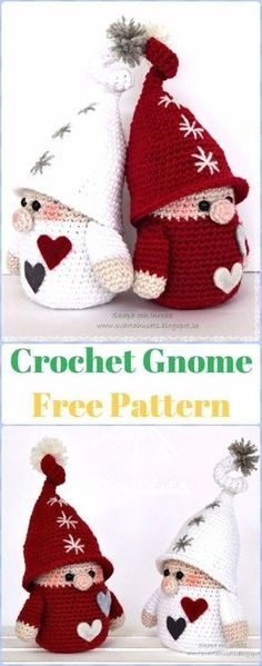 Crochet Gnome Free Pattern - migurumi Crochet Christmas Softies Toys Free Patterns #crochetdresses