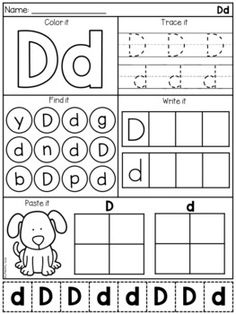 Alphabet Worksheets - Letter Work - Distance Learning by My Teaching Pal Letter D Worksheet, Letter Worksheets For Preschool, English Worksheets For Kids, Preschool Letters, Letter Activities, Alphabet Worksheets, Kindergarten Worksheets, Number Worksheets, Vocabulary Activities