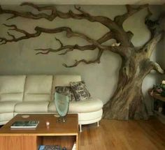 Not sure how to decorate you living room ???? Check this one out, using a small dead tree, simply beautifull
