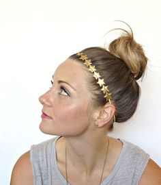 Gold Star Headband Puffy Fabric Star Headband by littleblueolive, $13.00