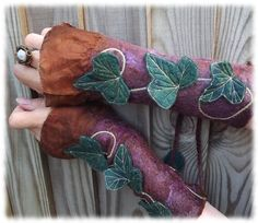 Ivy Leaf Faerie Cuffs - with dragon-foot ivy!!  It's like they were made for me!!! <3 LOVE!!!