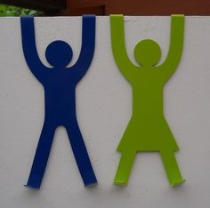 "Clever Design - ""His"" & ""Hers"" Door Hooks in a wide range of colours from www.nest-homegrown.co.za"