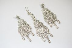 Beautiful Head Chain Earring Silver Crystal by BridesBridesmaids