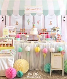 "Ice Cream Birthday Party Sweet Table from an Ice Cream Parlor Birthday Party via Kara's Party Ideas Party A birthday party is a party to celebrate the anniversary of someone's birth. ""Birthday Party"" or ""The Birthday Party"" may also refer to: Ice Cream Theme, Ice Cream Parlor, Teenager Party, Ice Cream Social, Deco Floral, Partys, 3rd Birthday Parties, 2nd Birthday, Cute Birthday Ideas"