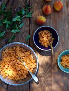 Peach and Thai basil granita (and sherry cobbler!) - The Fruitful Kitchen Thai Basil, Summer Garden, Cobbler, Peach, Fruit, Kitchen, Recipes, Food, Cuisine