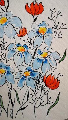 Abstract Watercolor, Watercolor Flowers, Watercolor Paintings, Folk Art Flowers, Flower Doodles, Warhol, Watercolours, Doodle Art, Greeting Card