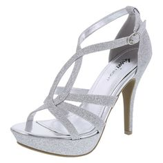 The perfect platform pump for that perfect special occasion! This Fioni Night number features a glittered strappy upper, adjustable ankle strap, padded footbed, 4 heel with platform, and a rubber outsole. Prom Shoes Silver, Silver High Heel Shoes, Ankle Strap High Heels, Strappy Sandals Heels, Platform High Heels, Pumps Heels, Silver Heels, Silver Bridesmaid Shoes, Homecoming Shoes