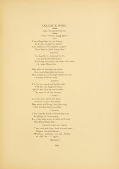 """Athena yearbook, 1892. """"College Song, Tune- 'Auld Lang Syne' """""""