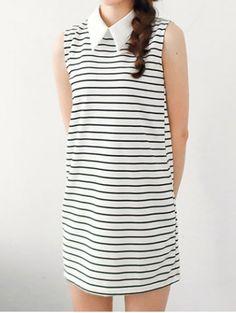 Preppy Style Flat Collar Stripe Print Sleeveless Dress For Women