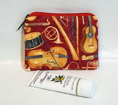 Coin Pouch, Red, Music, Make Up Bag, Zipped Bag, Change Purse, Coin Purse by rosemontbags on Etsy