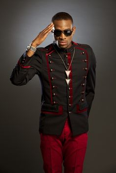 D'BANJ black/red military suit Military Suit, Nigerian Dress, Angry Women, Big Music, Music Music, Nigeria News, Swag Style, African Wear, Brand Ambassador