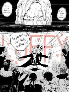 Sabo, Luffy. N'importe quoi... C'est quoi tous ce fanclub ? Hancock et Bartoloméo, okay, mais qu'est-ce qu'ils foutent là, tout les autres ???? Et Luffy n'est pas aussi innocent ! Dans un coin avec un morceau de viande à la main, ça serait beaucoup plus crédible...