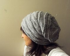 Slouchy Cabled Grey Hat Hand Knit Oversized Chunky Hat Beanie Rasta Hat Beret Women Men Fall Winter Clothing Accessory Can be MADE TO ORDER by GrahamsBazaar, $34.99