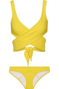 Lisa Marie Fernandez's best-selling 'Marie-Louise' bikini is updated in a sunny bright-yellow hue. This crepe style has ties that cross and wrap the bodice for a custom, flattering fit. Wear it from the pool to lunch with a printed maxi skirt.