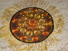 Vintage Hungarian Matyo Hand Made Round Tablecloth w/Fringe-Rusty Orange, Goldish Yellow & French Blue Flowers: Removed Hungarian Embroidery, Folk Embroidery, French Blue, Round Tablecloth, Ruby Lane, Decoration, Blue Flowers, Folk Art, Needlework