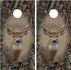 Whitetail Buck Camo Border Oak Ambush Cornhole Decal Wrap