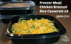 Freezer Meal:  Chicken Broccoli Rice Casserole x3 (Gluten-free) (I used broccoli, carrots & cauliflower in cheese sauce).