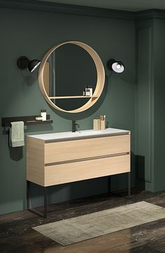 Cedam Oakwood bathroom cabinet - with integrated black legs and handles. Round mirror with shelf to match the furniture. Bathroom Mirror Inspiration, Bathroom Design Layout, Farmhouse Chandelier, Mirror With Shelf, Bad Inspiration, Bedroom Vintage, Round Mirrors, Bathroom Interior, Home Remodeling
