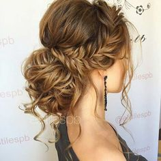 Messy Fishtail Braid Low Ban Prom Hair