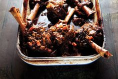 The foreshank, a meatier cut than the hindshank, is used for this recipe for shanks braised in a stock flavored with wine, aromatics, and anchovies.