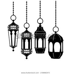 Set Silhouette Illustration Islamic Lanterns Can Stock Vector (Royalty Free) 1708982473 Shutter, Islamic, Lanterns, Wedding Decorations, Royalty Free Stock Photos, Silhouette, Ceiling Lights, Ink, Weddings