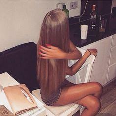 Waist length super shiny long hair